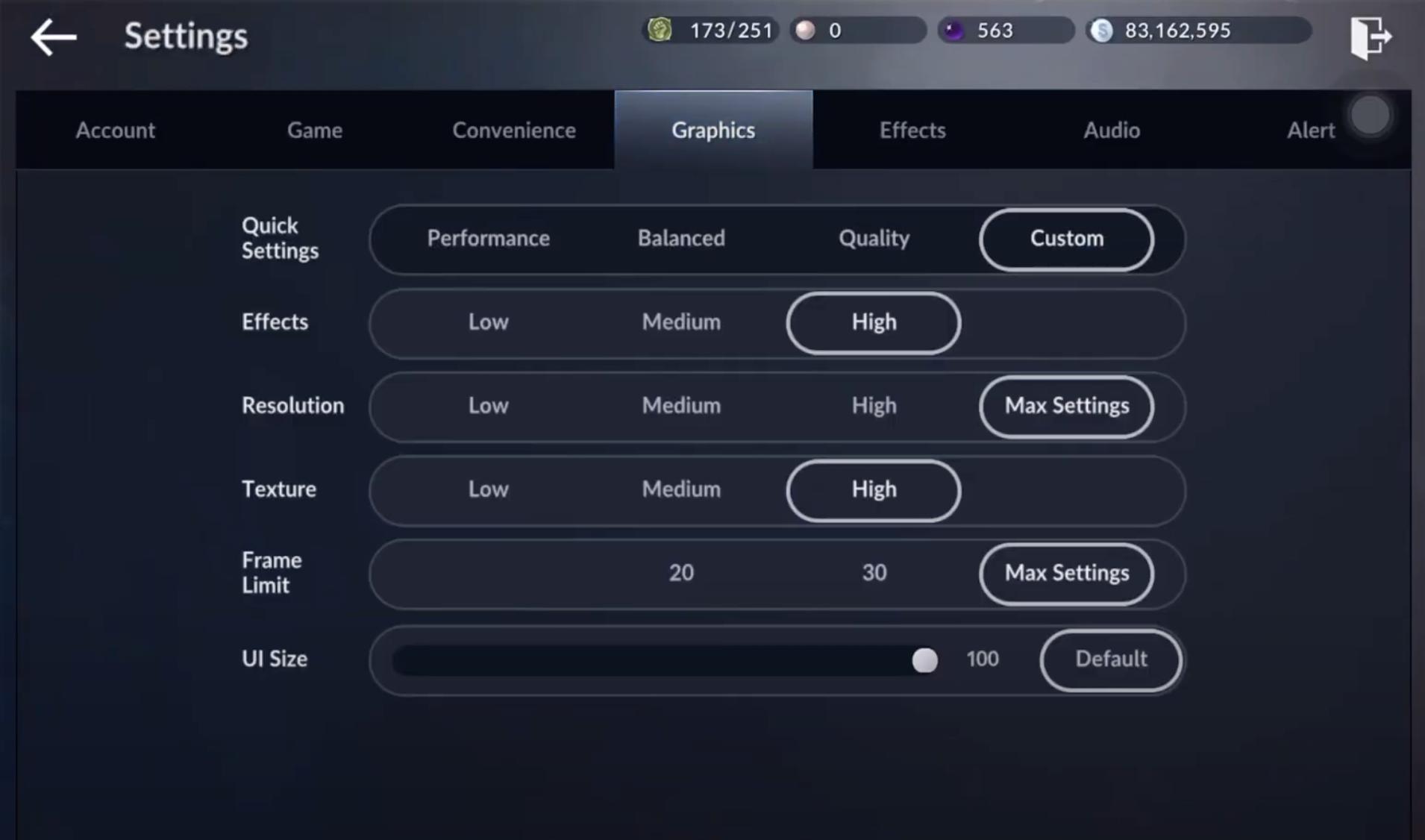 Vào settings và chọn Custom: Max Settings như trên.