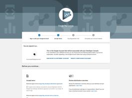 Màn hình đăng ký tài khoản với Google Play Store