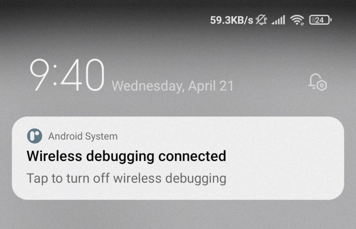 Kết nối Wireless Debugging thành công